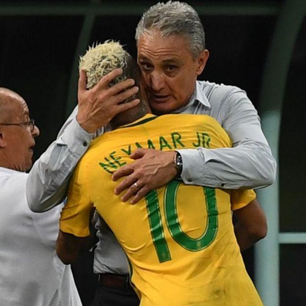 Tite junto a Neymar