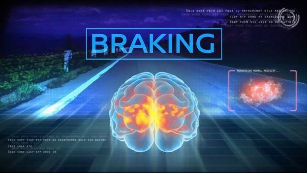Ilustração das áreas do cérebro usadas durante uma frenagem