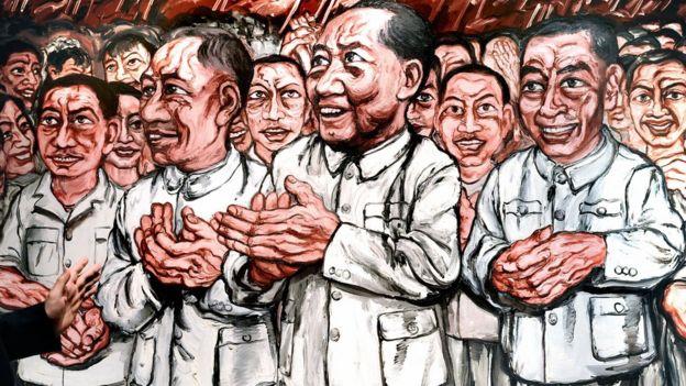中國藝術家曾梵志的1993年創作的油畫《從群眾中來,到群眾中去》。