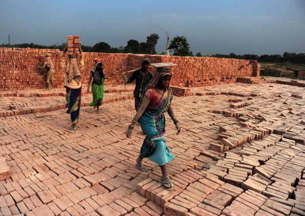 Una fábrica de ladrillos en Uttar Pradesh.