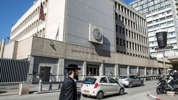 Facade of the United States embassy in Tel Aviv.