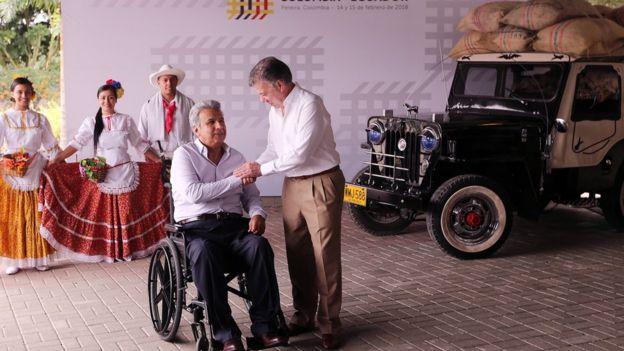 Encuentro entre los presidentes de Ecuador, Lenín Moreno, y Colombia, Juan Manuel Santos.