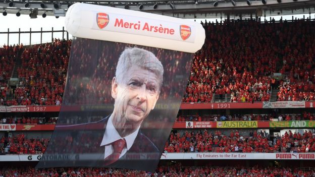 "Preparations are made for Arsene Wenger""s farewell after the Premier League match between Arsenal and Burnley at Emirates Stadium on May 6, 2018 in London"