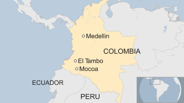 A map showing Colombia and the locations of Mocoa, El Tambo, and Medellin - with neighbouring Ecuador and Peru also marked