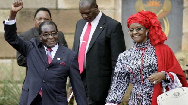 Zimbabwe president Robert Mugabe and his wife Grace Mugabe