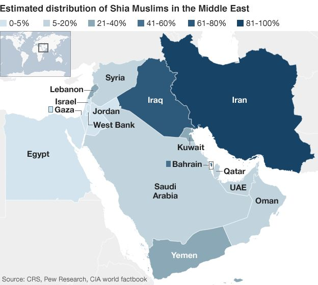 A map of Shia populations in the Middle East