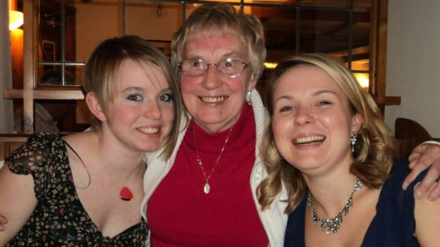 Doreen Dunn with her two granddaughters in 2010. Image copyright Family Photo
