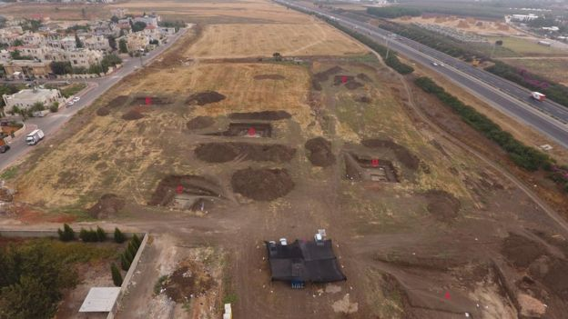Site of the excavation in Jaljulia near Tel Aviv