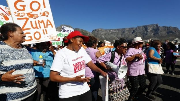 Protestors march against South African president Jacob Zuma in Cape Town, South Africa, 07 August 2017