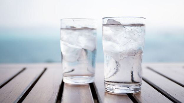 Glasses of water on a table
