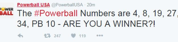 Powerball USA tweet