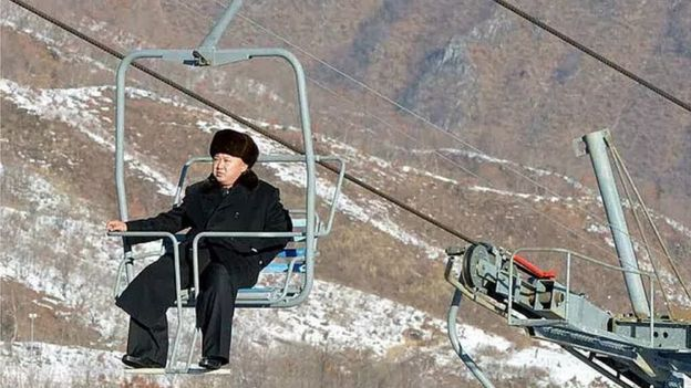 Kim Jong-un rides a ski lift at Masikryong Ski Resort
