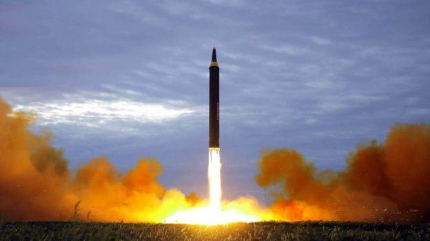 Kore Merkez Haber Ajansı'nın 29 Ağustos füze denemesiyle ilgili paylaştığı fotoğraf