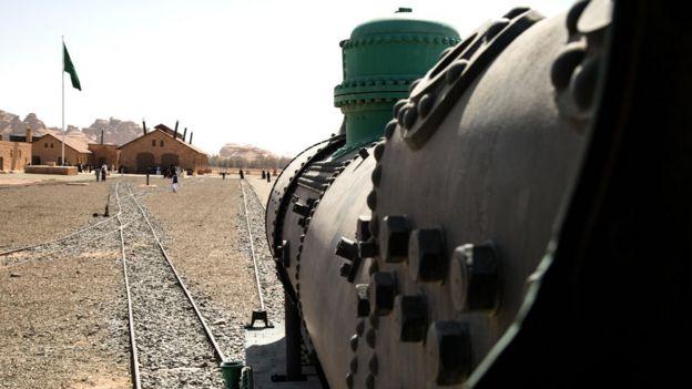 Restored locomotive and station at Madain Saleh