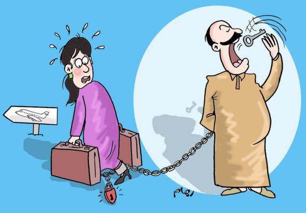 رسم كاريكاتيري للرسامة المغربية ريهام الهور.