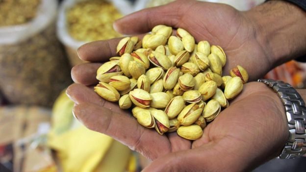 Close-up of a handful of pistachio nuts taken in Tehran in 2006.