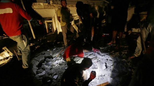Quake damage in Pedernales, Ecuador, 17 April