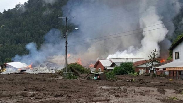 This handout photo released by Rescate Chaiten shows part of the town of Villa Santa Lucia near Chaiten in southern Chile that was devastated by a landslide that left five dead and 15 missing on December 16, 2017,