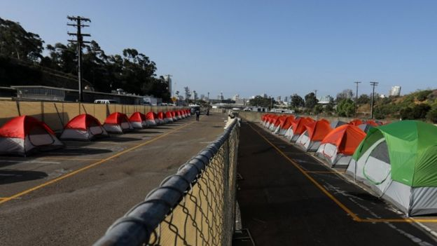 a row of tents set up by the city of San Diego