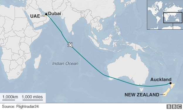 Emirates a380 from dubai to nz makes longest non stop flight bbc news dubai to auckland emirates flight path gumiabroncs