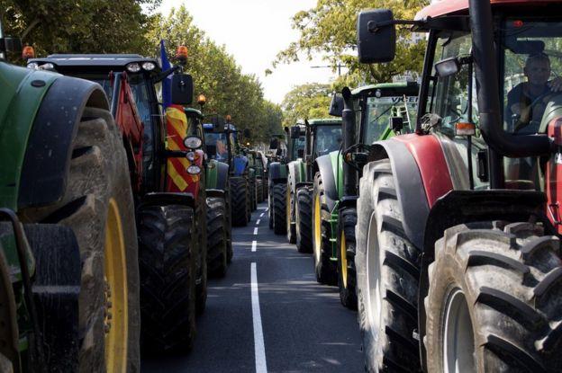 Protestas con tractores in Lleida, Cataluña, el 23 de septiembre.
