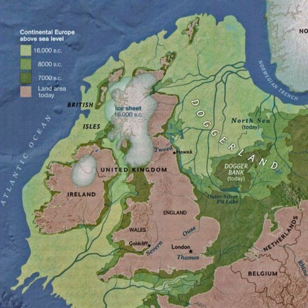 Map showing land around Britain and how it has been lost to the sea over the millennia