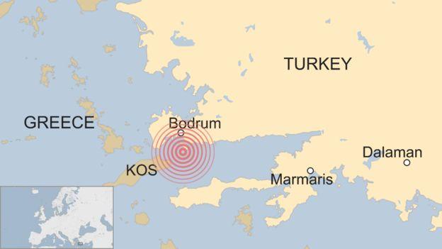 Harita, Yunanistan'ın Kos Adası yakınlarındaki 6.7 büyüklüğündeki deprem yerini göstermektedir