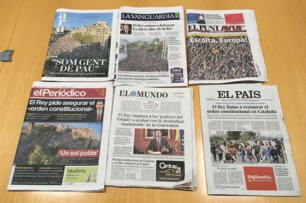Katalonya'daki protestolar bölgede çıkan gazetelerin manşetinde yer alırken, İspanyol basını ise eylemleri görmedi