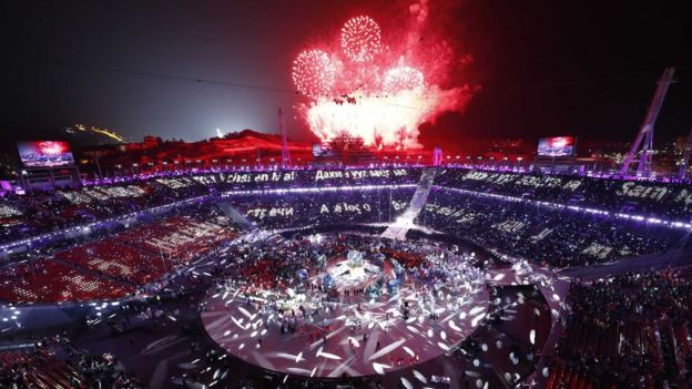 Fireworksexplode during the closing ceremony, Pyeongchang Olympic Stadium