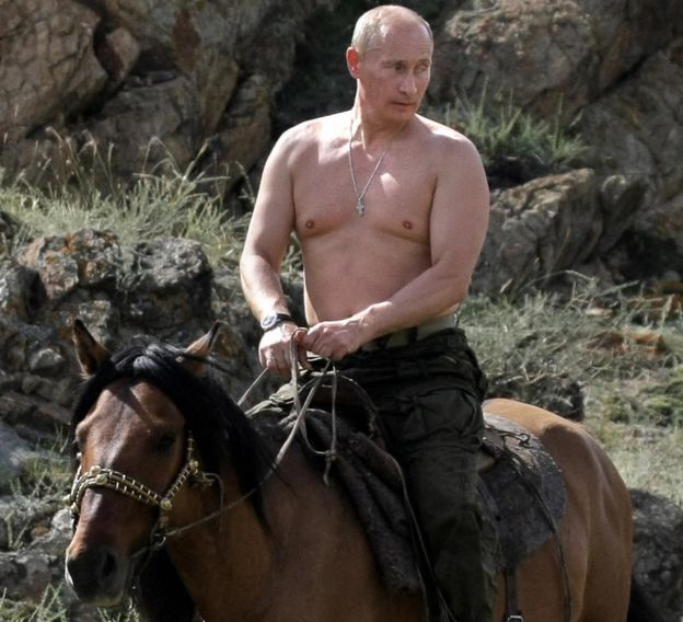 Vladimir Putin riding a horse during a vacation outside the town of Kyzyl in Southern Siberia