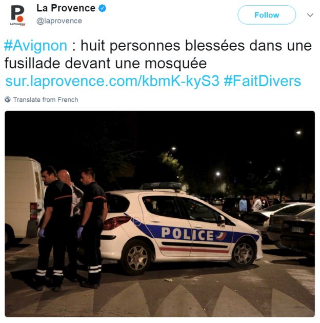 A tweet posted by La Provence newspaper reads: