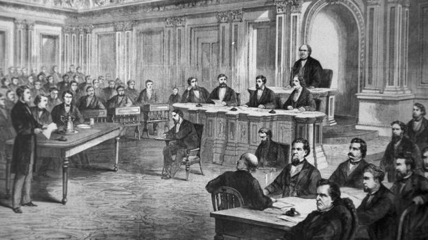 An engraving showing the impeachment trial of President Andrew Johnson in the Senate March 13, 1868