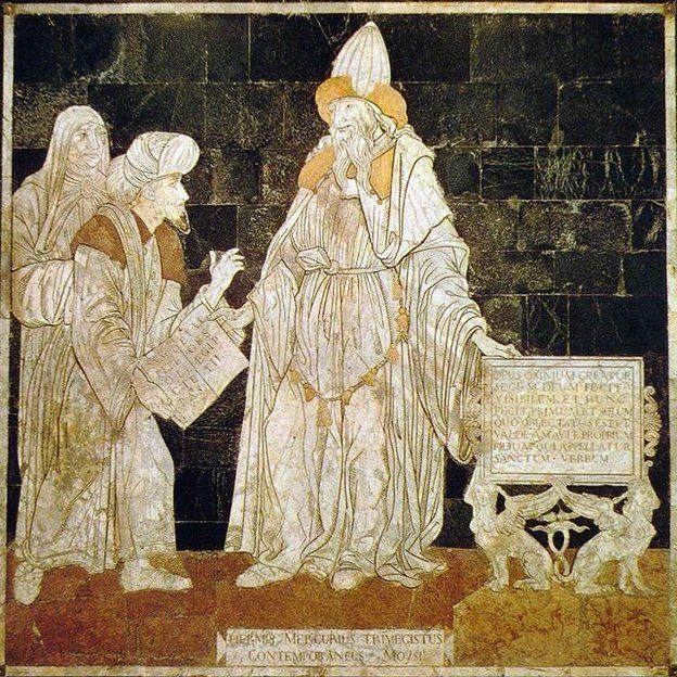 Hermes Trismegisto, el tres veces grande, en este mosaico en la Catedral de Siena.