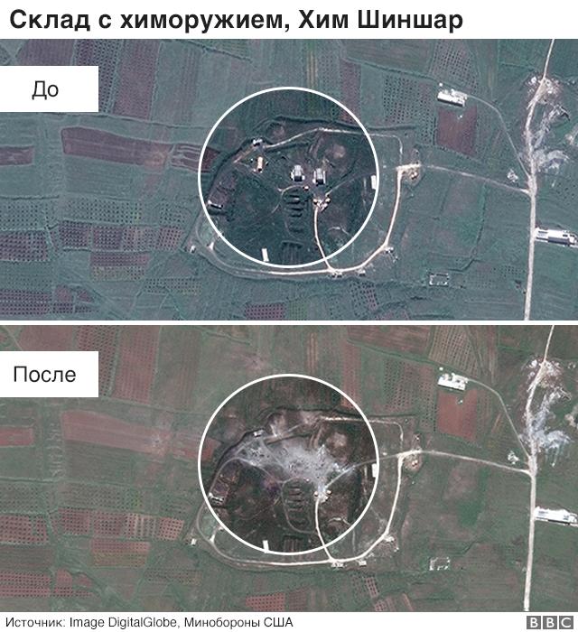 Последствия удара по объектам в Сирии