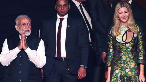 হায়দ্রাবাদে মঙ্গলবার গ্লোবাল অন্ট্রেপ্রোনিওরশিপ সামিটে নরেন্দ্র মোদী ও ইভাঙ্কা ট্রাম্প