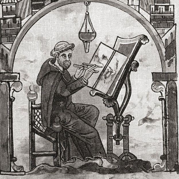 Monje en el escriptorium en el siglo XII
