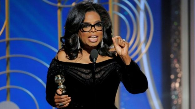 Oprah Winfrey speaks after accepting the Cecil B. Demille Award at the 75th Golden Globe Awards in Beverly Hills, California, U.S. January 7, 2018