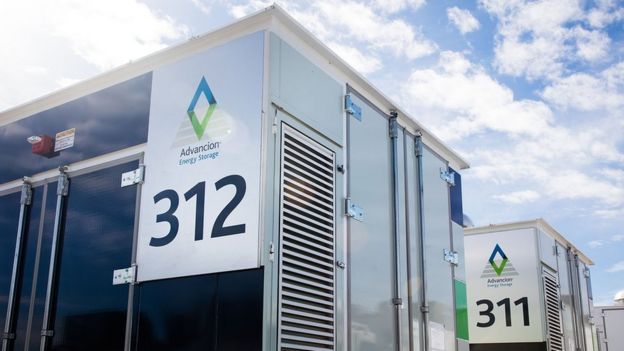 Almacenaje de energía en baterías de litio (Foto: AES Energy Storage)