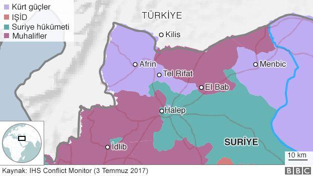 Afrin ve etrafındaki yerleşim yerleri