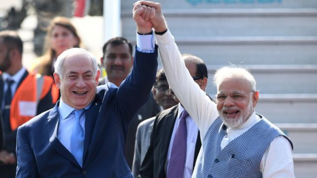 Israeli Prime Minister Benjamin Netanyahu (left) met his Indian counterpart Narendra Modi in Delhi