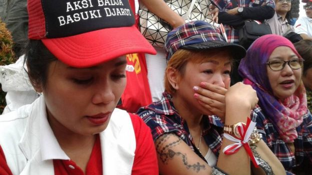 Picture of Ahok supporters in Jakarta on 9 May 2017