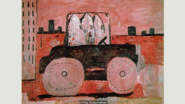 Philip Guston's cartoonish works from the 1960s, such as City Limits, often featured gangs of hooded Klansmen