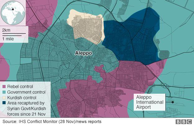 Mapa mostrando áreas Aleppo de controle (28 de novembro)