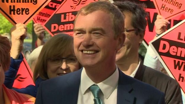 Tim Farron addressing Lib Dem supporters in Richmond, Surrey