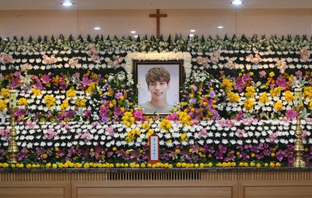 The portrait of Kim Jong-Hyun, a 27-year-old lead singer of the massively popular K-pop boyband SHINee, is seen on a mourning altar at a hospital in Seoul on 19 December 2017