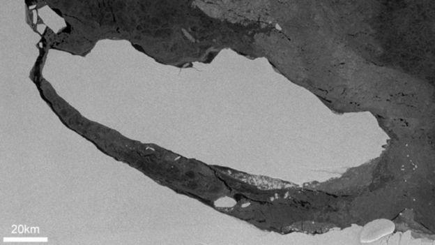 Iceberg separado de la plataforma Larsen C. Foto: COPERNICUS SENTINEL 1 DATA/BAS.