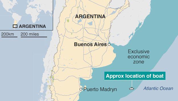 Argentina Sinks Chinese Fishing Boat Lu Yan Yuan Yu BBC News - Argentina map puerto madryn