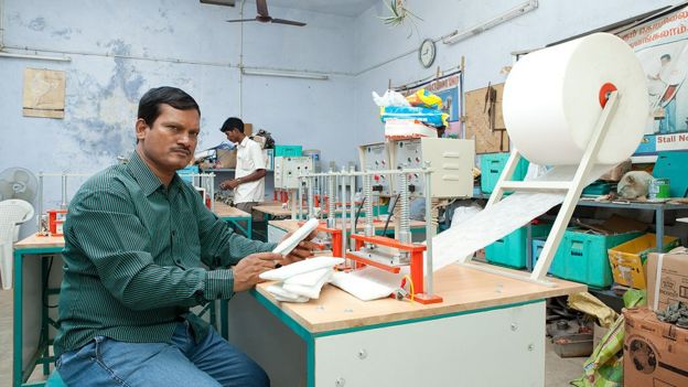 Arunachalam Muruganantham at one of his machines
