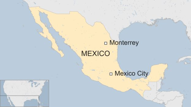 Map of Monterrey in Mexico