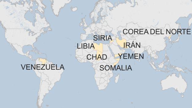 Los 8 países en los que pesa el veto migratorio de EE.UU.